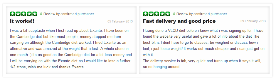 Customer reviews of Exante Diet