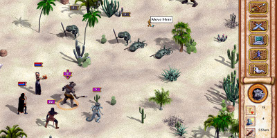 The player's group, in a desert fighting lizard-like creatures