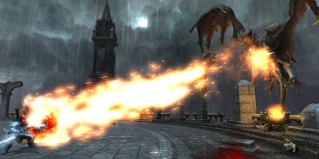 A dragon, launching a fireball towards the player's character