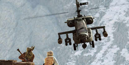 An Apache helicopter, approaching some enemies stood on a hillside