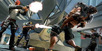 A two-on-two firefight, with one character falling down after being shot