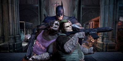 Batman, holding two Joke imposters together