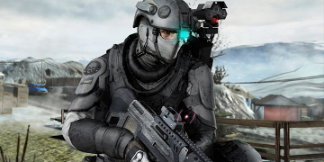 A soldier running through a wasteland, wielding a rifle