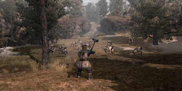 The player, being approached by a group of creatures in a woodland environment