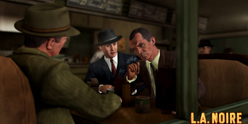 Three men meet at a bar, all in suits