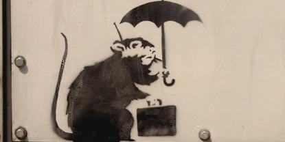 Graffiti Monkey Holding An Umbrella And Briefcase