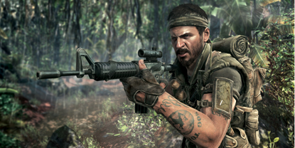 A soldier walking through a jungle environment, with an M16