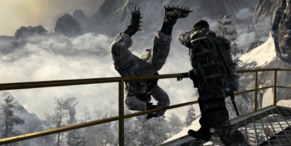 A soldier, throwing an enemy over a ledge