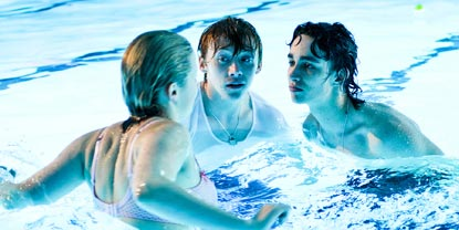 Luke, Malachy And Michelle Talking In A Swimming Pool