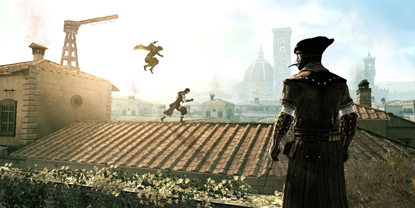 An enemy overlooking two others jumping across a roof