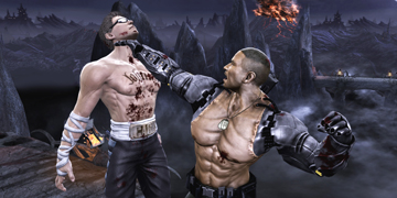 A character, holding his opponent up by the neck in one arm, about to punch him