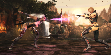 A female character, firing a pink beam towards her opponent