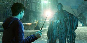 Harry, face-to-face with a dark creature, similar to Voldemort