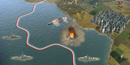 A fight at sea between two ships - one is seen, exploding