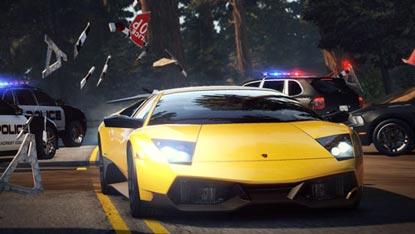 A Lamborghini Murcielago SuperVeloce, speeding through a police road-block