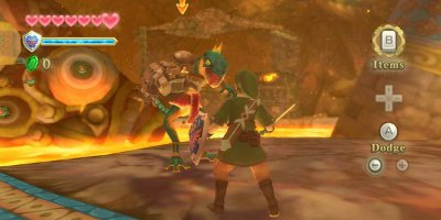 Link, in a duel with a large, ostrich-like creature
