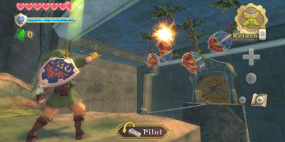 Link, firing at an enemy plant-based creature