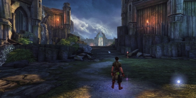 Man walking through a Castle town