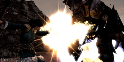 An enemy being damaged by an explosion caused by the player