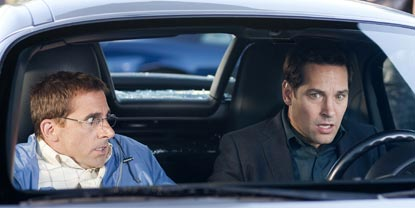 Barry Played By Steve Carell And Tim Sat In A car With A Smashed Rear Windscreen