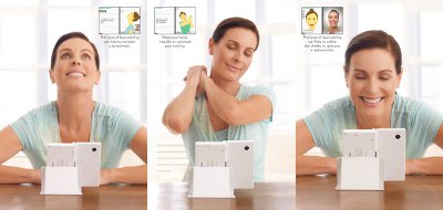 Three pictures of a woman using the Face Training game