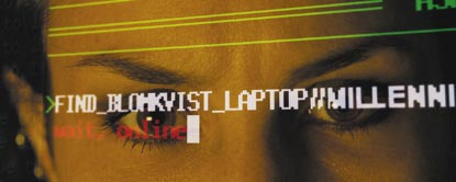 Close Up Of Lisbeth Salander With Writing From A Computer Screen Reflected Across Her Eyes