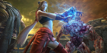 The player's character, charging some magical blue force between her hands