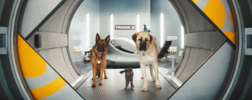 Two Dogs And A Cat Stood In A Tunnel Doorway Leading To A High-Tech Lab
