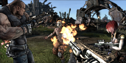 A first-person view of the player, setting fire to another character