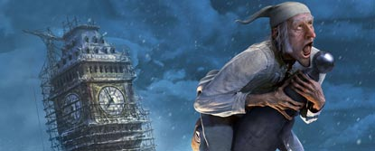 Animated Scrooge On Top Of A Pole Infront Of Big Ben At Night In The Snow