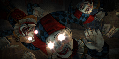 A group of tow clowns and jokers, with glowing eyes - always creepy