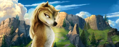 Kate, Animated Wolf With Mountains In The Background