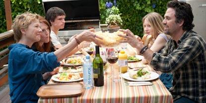 Family Sat Round A Table Outside Having Dinner