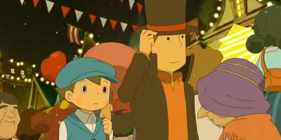 professor Layton on a horse