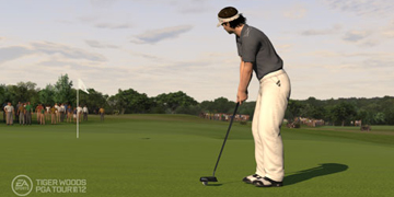 A player, preparing to putt