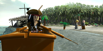 Jack Sparrow, on a small boat