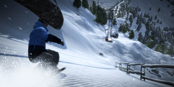 A player speeding down a mountain, along-side a fence