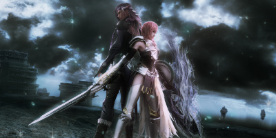 A female character standing back-to-back with a male character, holding their weapons