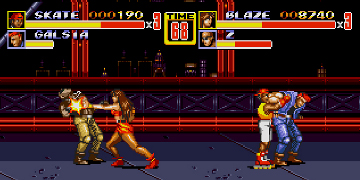 A two-on-two fight, in a 2D fighting game