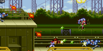 A 2D platform shooter, with the player sending enemies flying