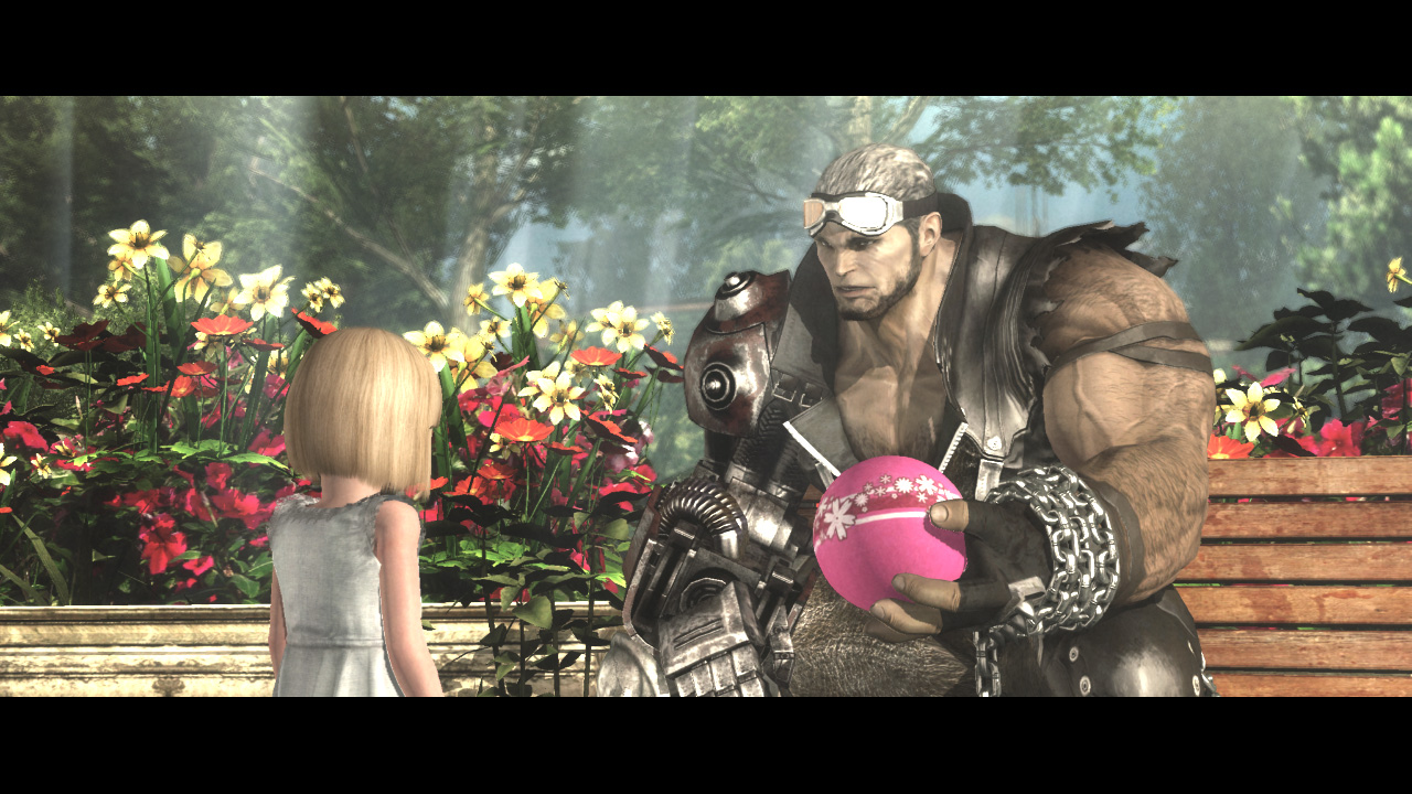 giant man with pink handing back a little pink ball to a young girl