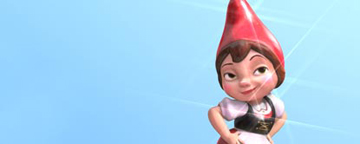 Animated Garden Gnome Called Juliet With A light Blue Background