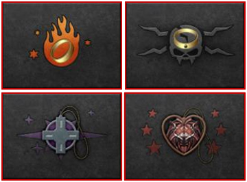 The 4 symbols for the exclusive in-game items included