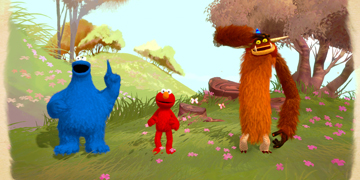 The Cookie Monster, Elmo and Seamus stood in a meadow environment
