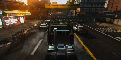 Driving a truck through traffic in the city