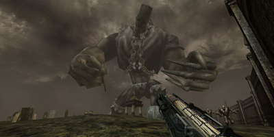 The player, taking aim at a massive enemy