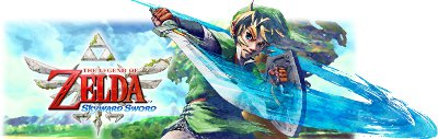 Link, swinging his sword round towards the screen, with his back to the Zelda: Skyward Sword logo