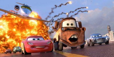 Finn McMissile, Mater And Lightening McQueen Being Chased By A Jet Plane