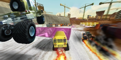 Trucks jumping and quite literally burning rubber