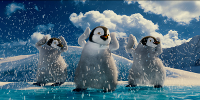 Penguins Dancing in the Snow